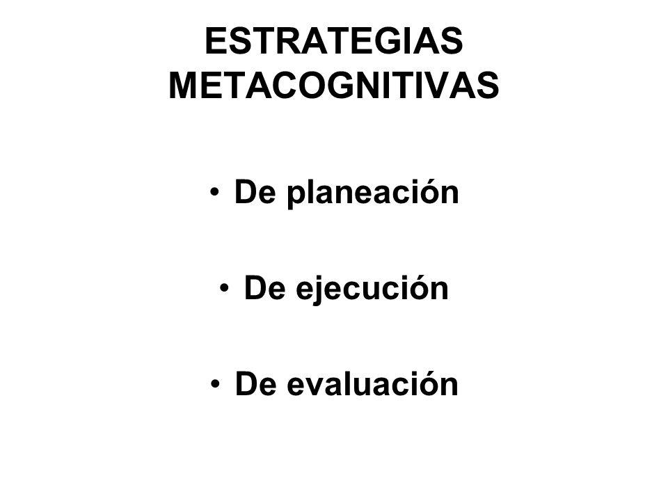 ESTRATEGIAS METACOGNITIVAS De planeación De ejecución De evaluación