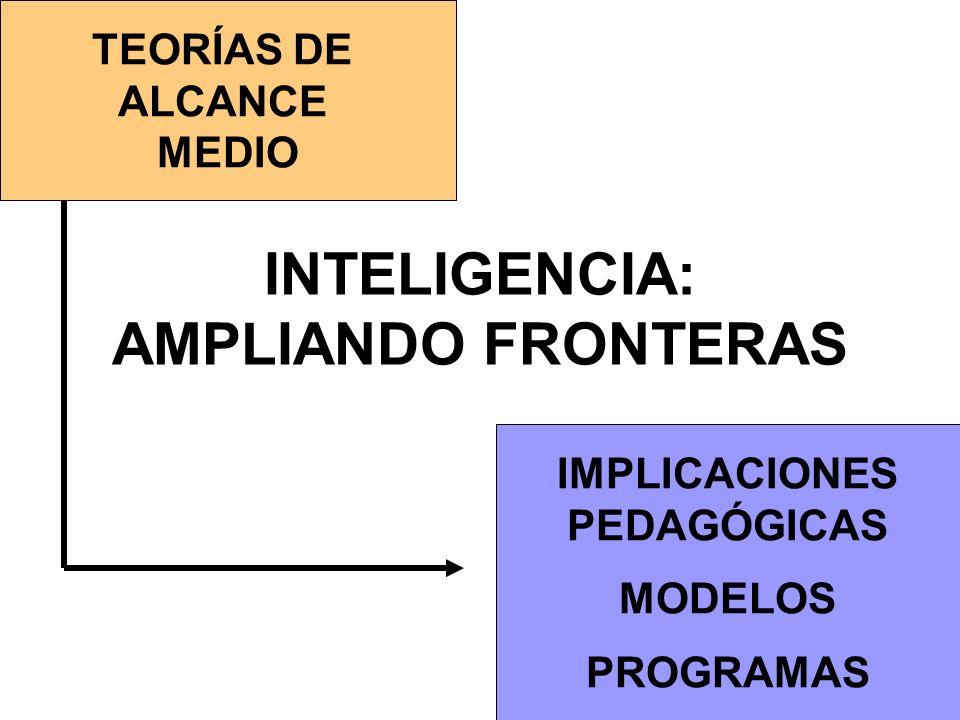 INTELIGENCIA: AMPLIANDO FRONTERAS TEORÍAS DE ALCANCE MEDIO IMPLICACIONES PEDAGÓGICAS MODELOS PROGRAMAS
