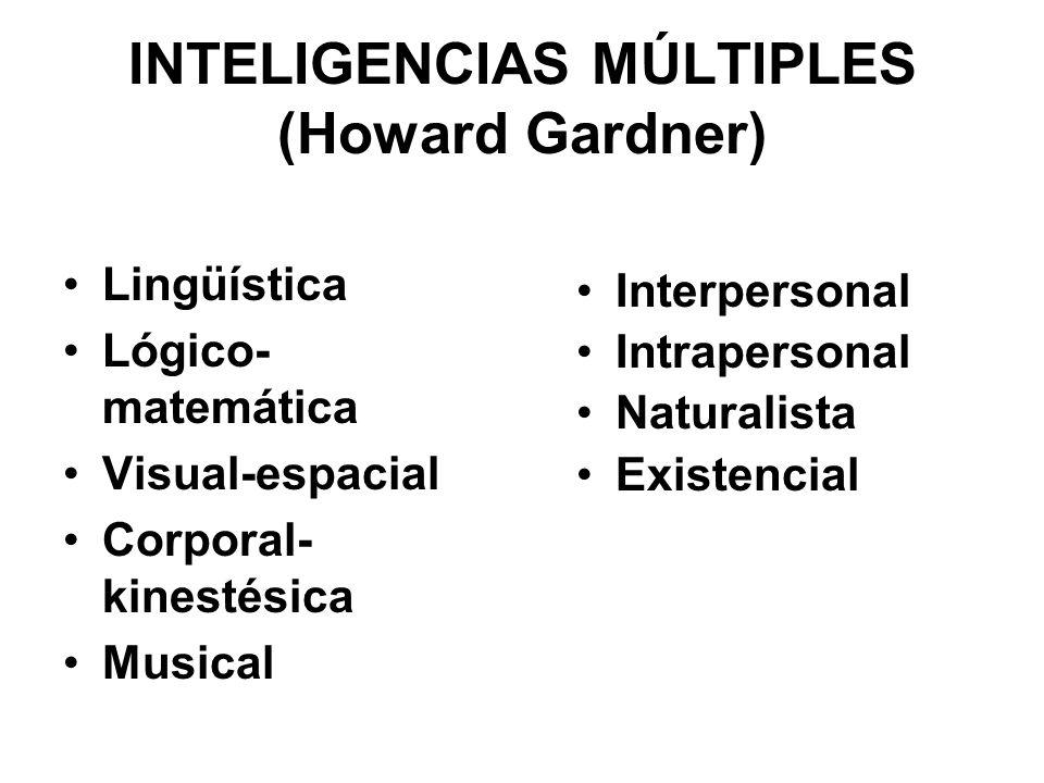 INTELIGENCIAS MÚLTIPLES (Howard Gardner) Lingüística Lógico- matemática Visual-espacial Corporal- kinestésica Musical Interpersonal Intrapersonal Natu