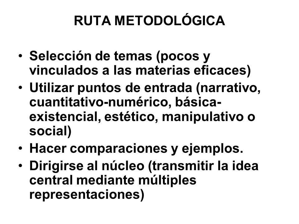 RUTA METODOLÓGICA Selección de temas (pocos y vinculados a las materias eficaces) Utilizar puntos de entrada (narrativo, cuantitativo-numérico, básica