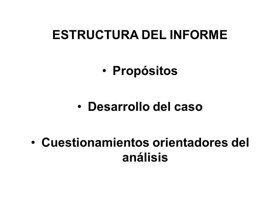 ESTRUCTURA DEL INFORME Propósitos Desarrollo del caso Cuestionamientos orientadores del análisis
