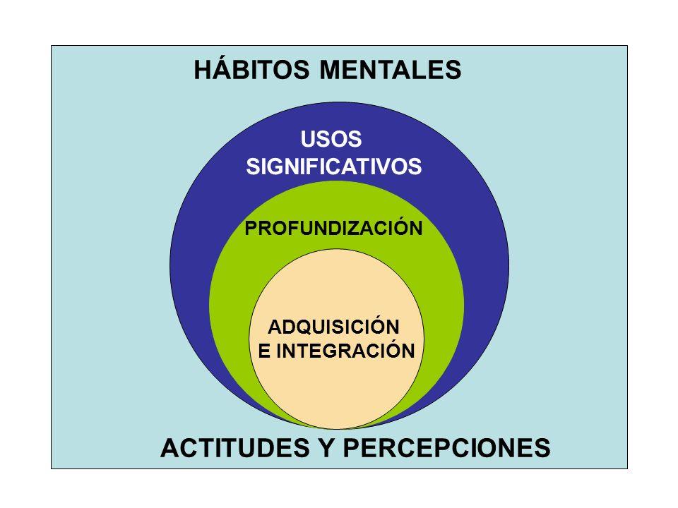 ADQUISICIÓN E INTEGRACIÓN HÁBITOS MENTALES ACTITUDES Y PERCEPCIONES PROFUNDIZACIÓN USOS SIGNIFICATIVOS
