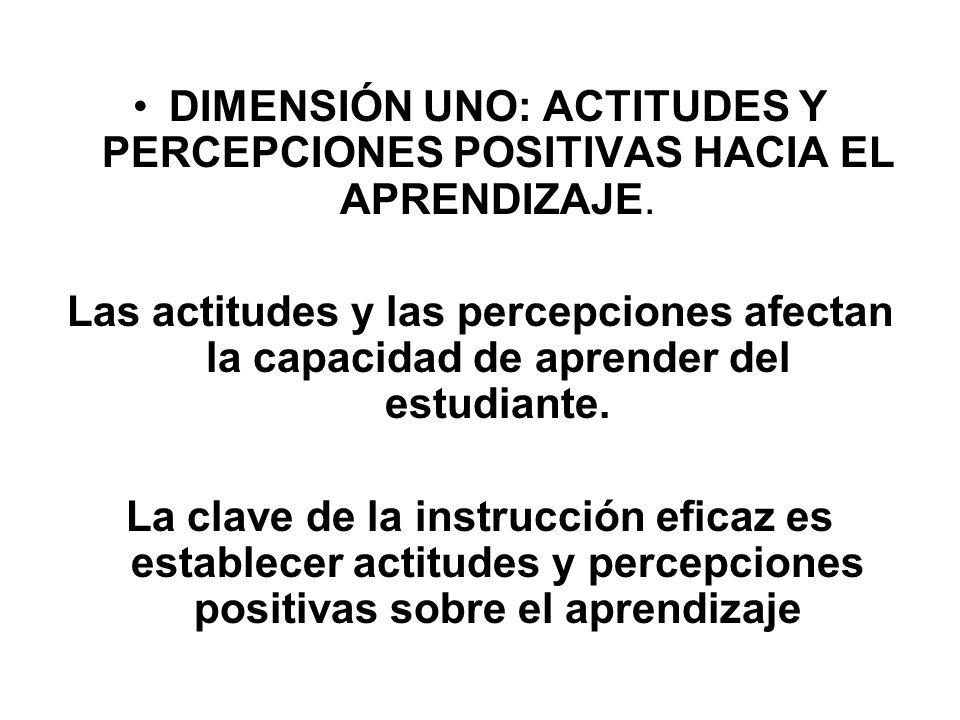 DIMENSIÓN UNO: ACTITUDES Y PERCEPCIONES POSITIVAS HACIA EL APRENDIZAJE. Las actitudes y las percepciones afectan la capacidad de aprender del estudian