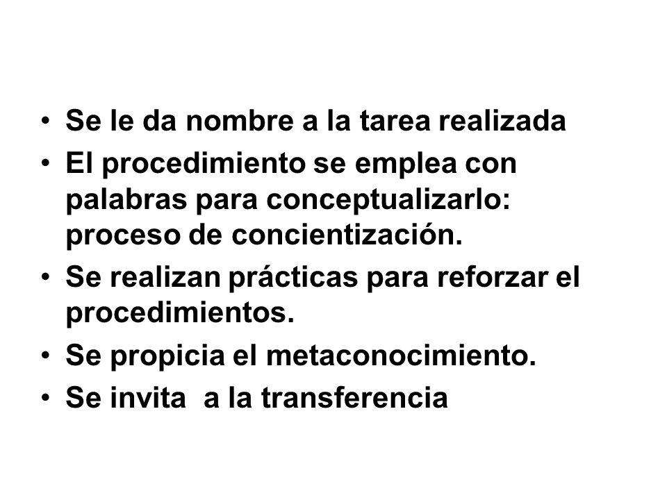 Se le da nombre a la tarea realizada El procedimiento se emplea con palabras para conceptualizarlo: proceso de concientización. Se realizan prácticas