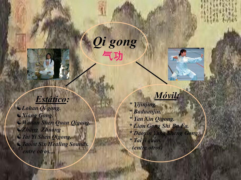 Qi gong Estático: Lohan Qi gong. Xiang Gong. Wudan Shen Quan Qigong. Zhang Zhuang. Tai Yi Shen Qigong. Taoist Six Healing Sounds. entre otros.... Móvi