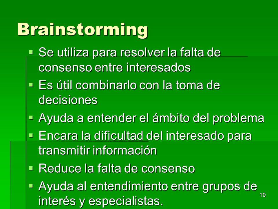 10 Brainstorming Se utiliza para resolver la falta de consenso entre interesados Se utiliza para resolver la falta de consenso entre interesados Es út