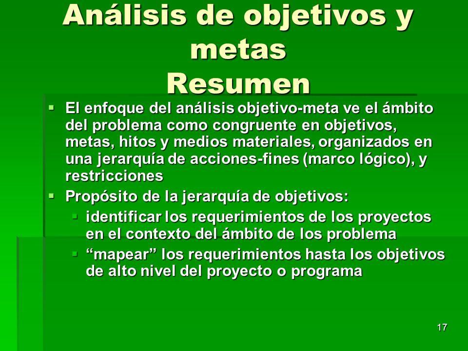 17 Análisis de objetivos y metas Resumen El enfoque del análisis objetivo-meta ve el ámbito del problema como congruente en objetivos, metas, hitos y