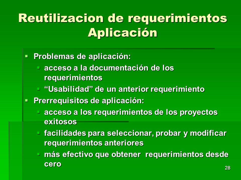 28 Reutilizacion de requerimientos Aplicación Problemas de aplicación: Problemas de aplicación: acceso a la documentación de los requerimientos acceso