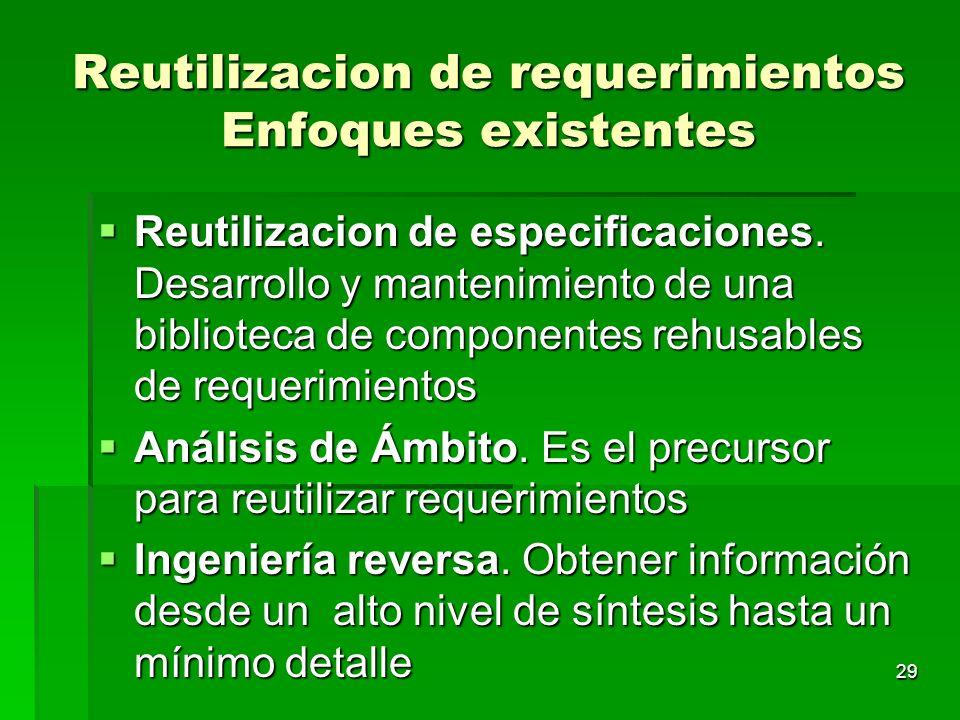 29 Reutilizacion de requerimientos Enfoques existentes Reutilizacion de especificaciones. Desarrollo y mantenimiento de una biblioteca de componentes
