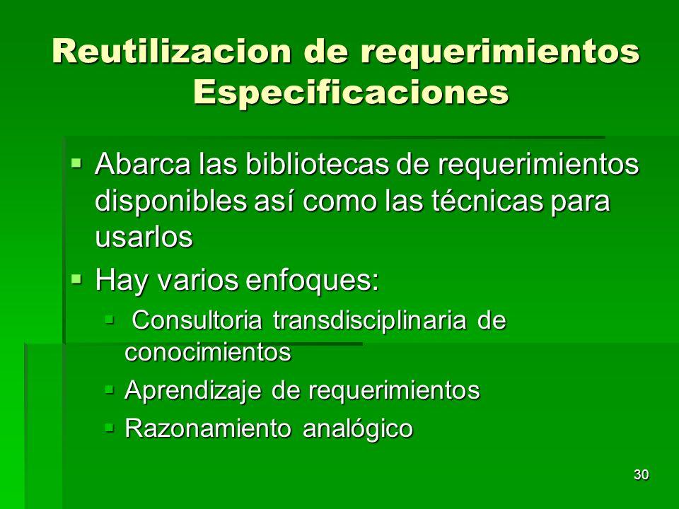 30 Reutilizacion de requerimientos Especificaciones Abarca las bibliotecas de requerimientos disponibles así como las técnicas para usarlos Abarca las