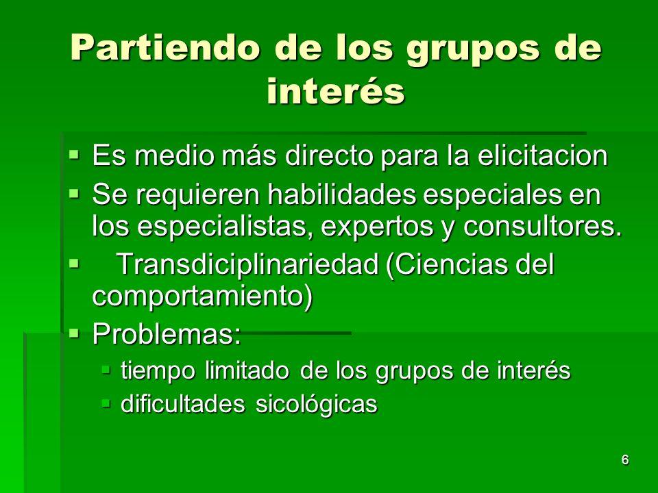 6 Partiendo de los grupos de interés Es medio más directo para la elicitacion Es medio más directo para la elicitacion Se requieren habilidades especi