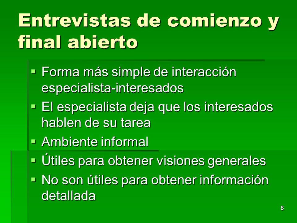 8 Entrevistas de comienzo y final abierto Forma más simple de interacción especialista-interesados Forma más simple de interacción especialista-intere