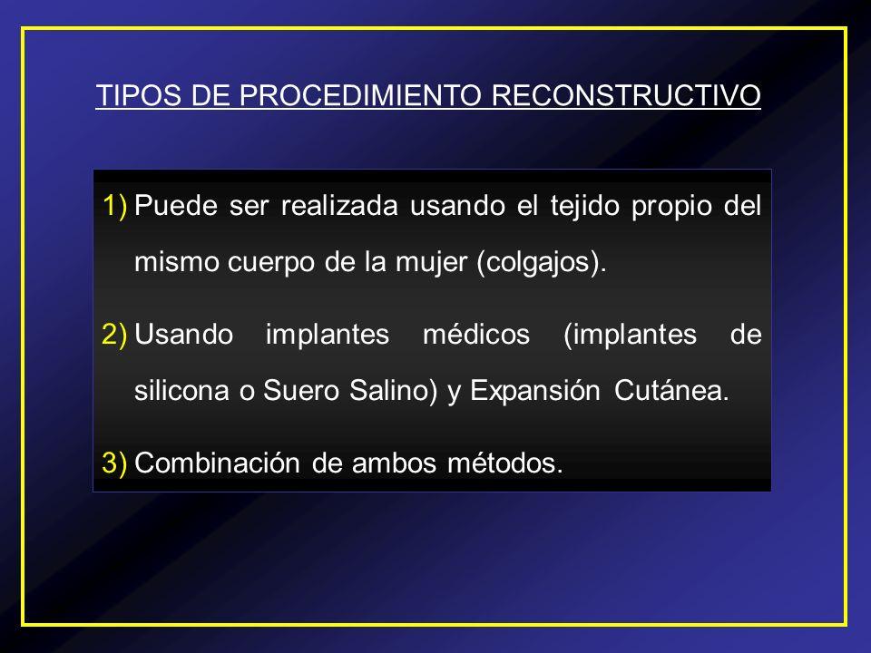 TIPOS DE PROCEDIMIENTO RECONSTRUCTIVO 1)Puede ser realizada usando el tejido propio del mismo cuerpo de la mujer (colgajos). 2)Usando implantes médico