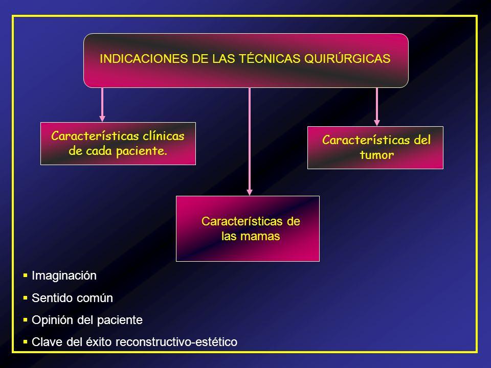 INDICACIONES DE LAS TÉCNICAS QUIRÚRGICAS Características clínicas de cada paciente. Características de las mamas Características del tumor Imaginación