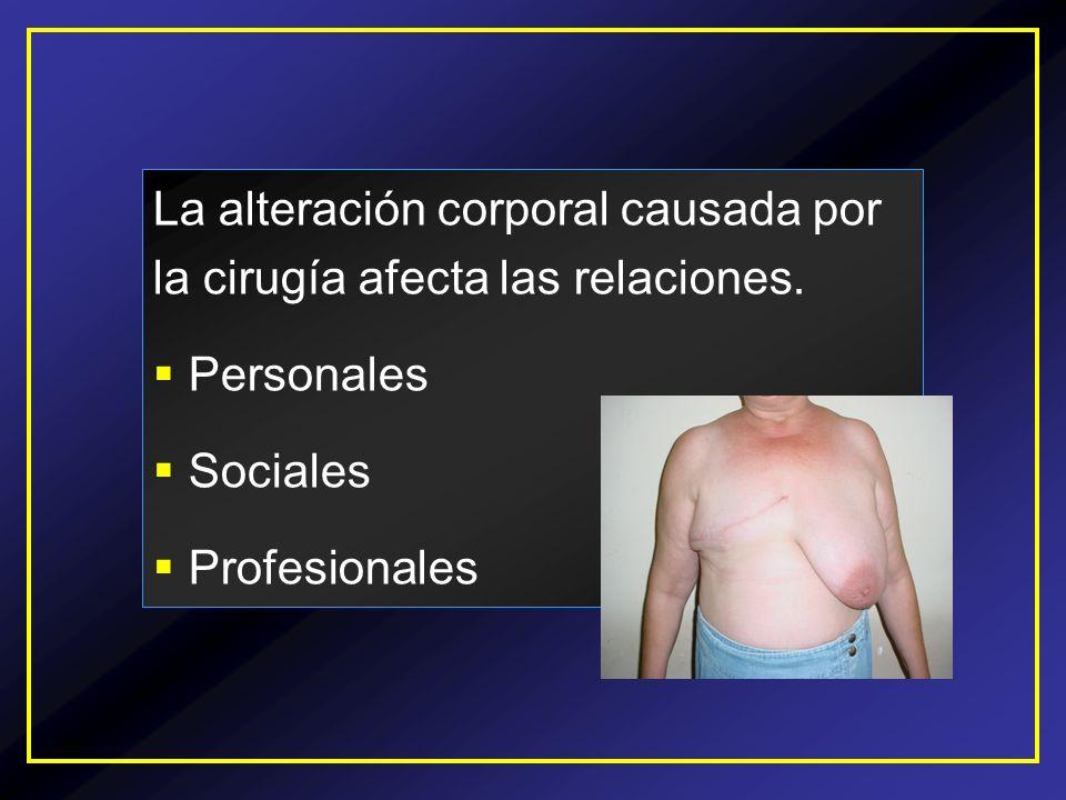 La alteración corporal causada por la cirugía afecta las relaciones. Personales Sociales Profesionales