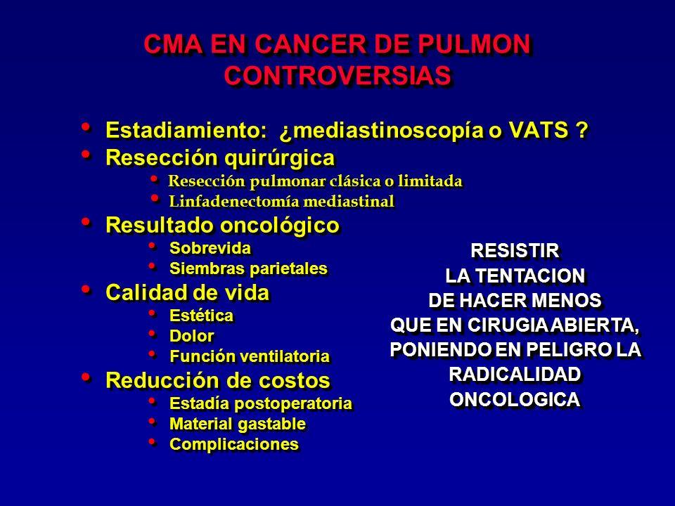 INDICACIONES DE LOBECTOMIA VATS Tumor periférico pequeño, cisura libre, no ganglios interlobares o mediastinales Etapas I, IIA Tumor periférico pequeño, cisura libre, no ganglios interlobares o mediastinales Etapas I, IIA Walker WS, Codispoti M, Soon SY, Stamenkovic S, Carnochan F, Pugh G: Long-term outcomes following VATS lobectomy for non-small cell bronchogenic carcinoma.