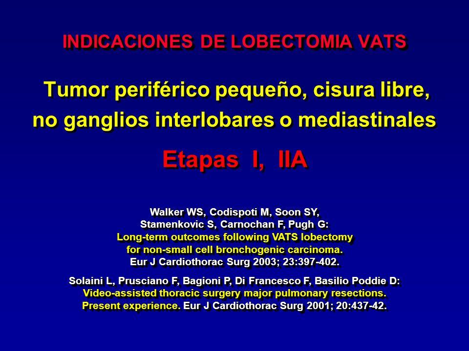 INDICACIONES DE NEUMONECTOMIA VATS Tumor que invade la cisura, sin toma parietal, sin ganglios mediastinales, sin toma hiliar Etapa II Tumor que invade la cisura, sin toma parietal, sin ganglios mediastinales, sin toma hiliar Etapa II Thomas P, Doddoli C, Yena S, Thirion X, Sebag F, Fuentes P, Giudicelli R: VATS is an adequate oncological operation for stage I non-small cell lung cancer.