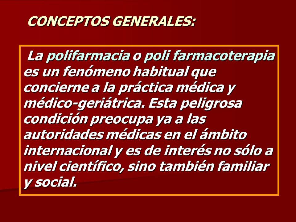 CONCEPTOS GENERALES: La polifarmacia o poli farmacoterapia es un fenómeno habitual que concierne a la práctica médica y médico-geriátrica. Esta peligr
