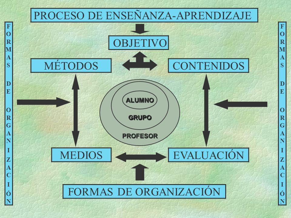PROCESO DE ENSEÑANZA-APRENDIZAJE OBJETIVO CONTENIDOSMÉTODOS MEDIOS EVALUACIÓN FORMAS DE ORGANIZACIÓN FORMASDEORGANIZACIÓNFORMASDEORGANIZACIÓN FORMASDE