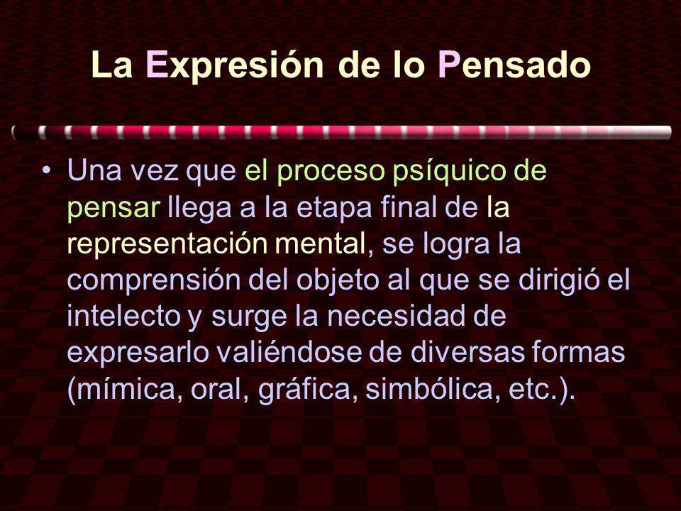 La Expresión de lo Pensado Una vez que el proceso psíquico de pensar llega a la etapa final de la representación mental, se logra la comprensión del o