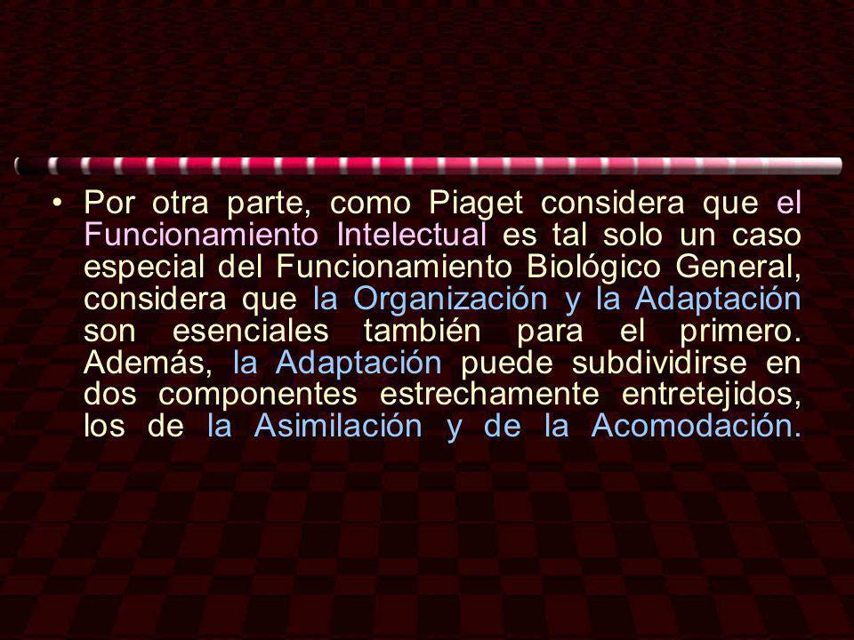 Por otra parte, como Piaget considera que el Funcionamiento Intelectual es tal solo un caso especial del Funcionamiento Biológico General, considera q
