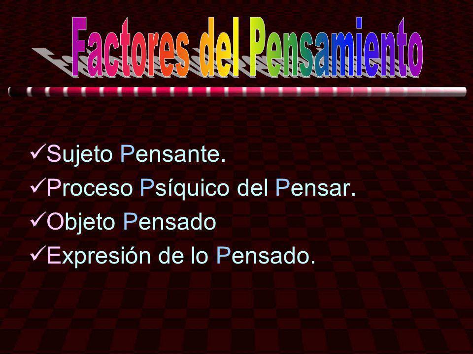 Sujeto Pensante. Proceso Psíquico del Pensar. Objeto Pensado Expresión de lo Pensado.
