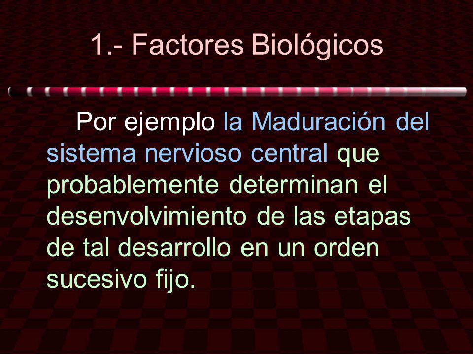 1.- Factores Biológicos Por ejemplo la Maduración del sistema nervioso central que probablemente determinan el desenvolvimiento de las etapas de tal d