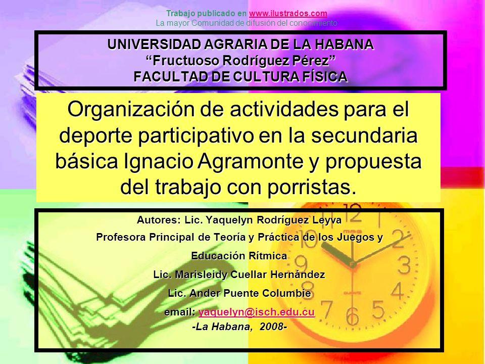Introducción La escuela Secundaria Básica Ignacio Agramonte, esta ubicada en la zona urbana del municipio de San José de las Lajas, en el consejo popular norte, en la calle 64 entre 39 y 40.