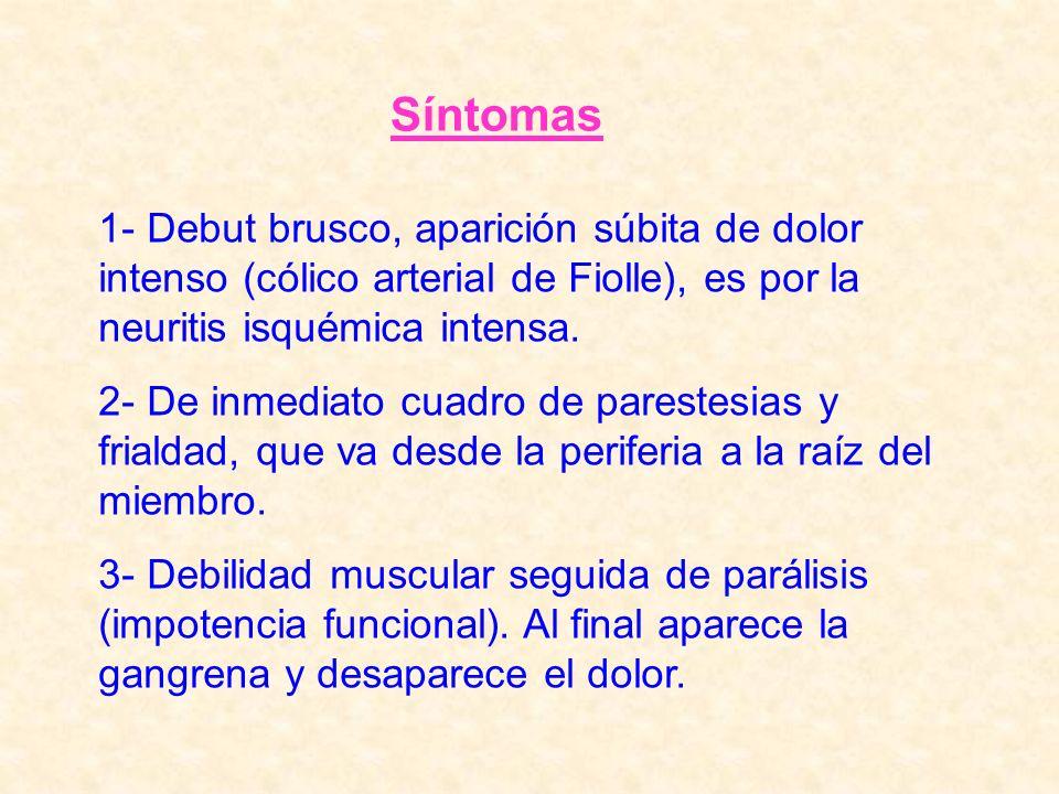 1- Debut brusco, aparición súbita de dolor intenso (cólico arterial de Fiolle), es por la neuritis isquémica intensa. 2- De inmediato cuadro de parest