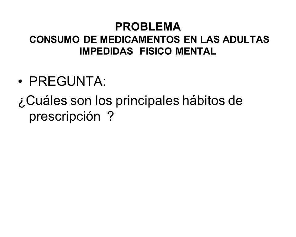 PROBLEMA CONSUMO DE MEDICAMENTOS EN LAS ADULTAS IMPEDIDAS FISICO MENTAL PREGUNTA: ¿Cuáles son los principales hábitos de prescripción ?