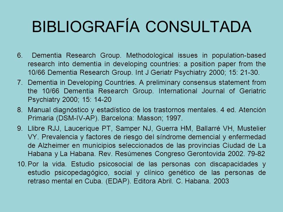 BIBLIOGRAFÍA CONSULTADA 1.Bermejo FP. Enfermedad de Alzheimer y otras demencias degenerativas. En: Tratado de Medicina Interna. 14ª ed. Barcelona: Har