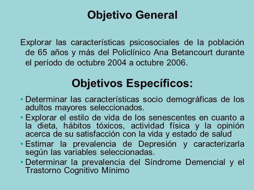 Objetivo General Explorar las características psicosociales de la población de 65 años y más del Policlínico Ana Betancourt durante el período de octubre 2004 a octubre 2006.