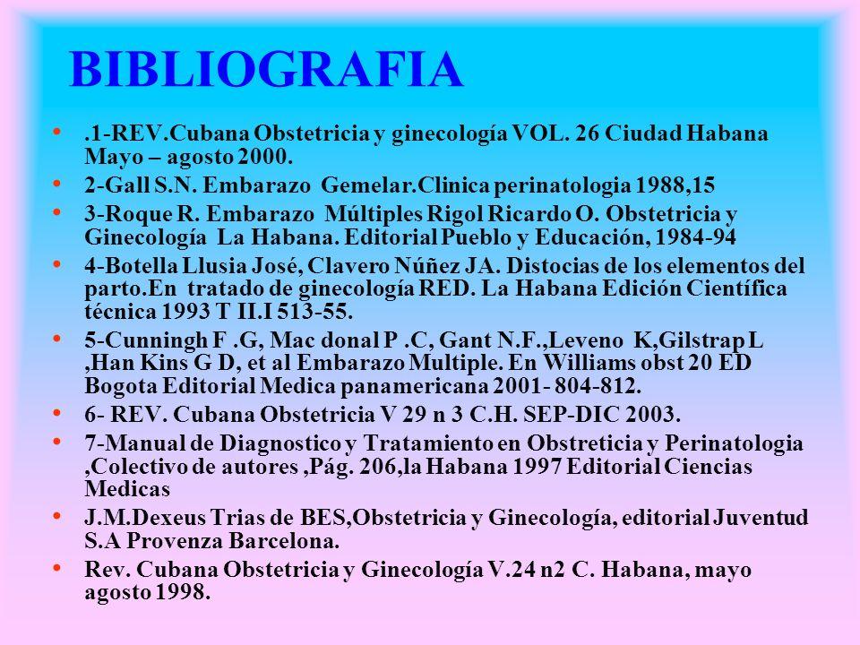 BIBLIOGRAFIA.1-REV.Cubana Obstetricia y ginecología VOL. 26 Ciudad Habana Mayo – agosto 2000. 2-Gall S.N. Embarazo Gemelar.Clinica perinatologia 1988,