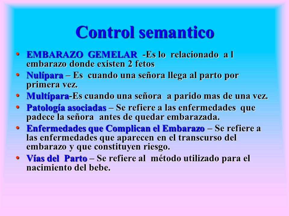 Control semantico EMBARAZO GEMELAR -Es lo relacionado a l embarazo donde existen 2 fetos EMBARAZO GEMELAR -Es lo relacionado a l embarazo donde existe