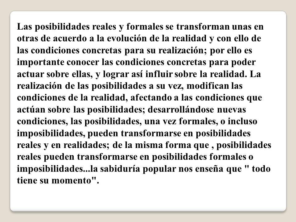 Las posibilidades reales y formales se transforman unas en otras de acuerdo a la evolución de la realidad y con ello de las condiciones concretas para