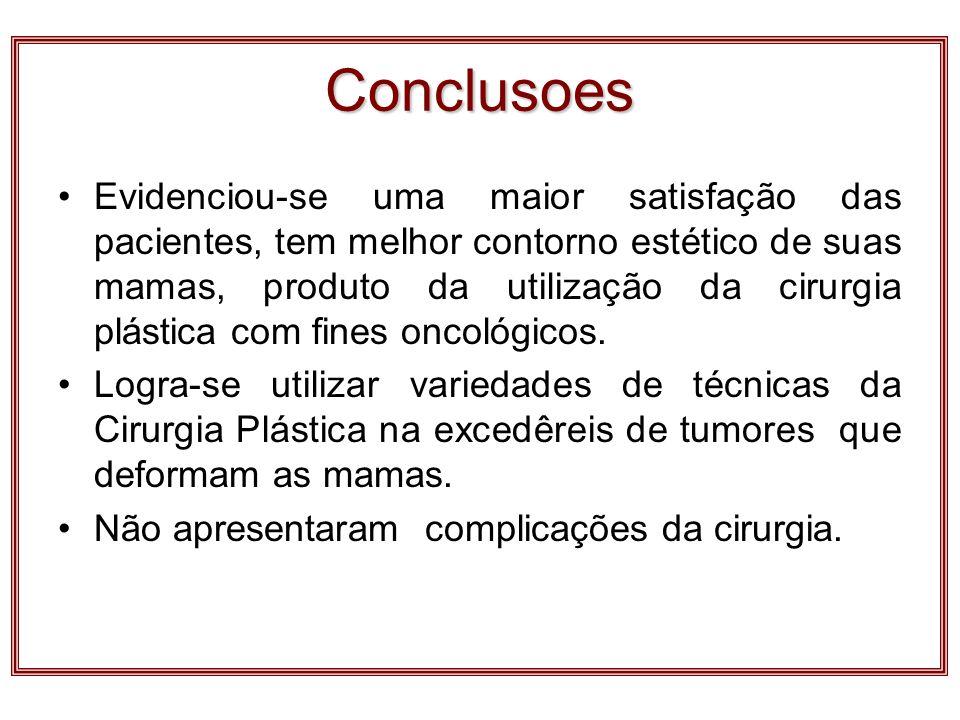 Conclusoes Evidenciou-se uma maior satisfação das pacientes, tem melhor contorno estético de suas mamas, produto da utilização da cirurgia plástica co