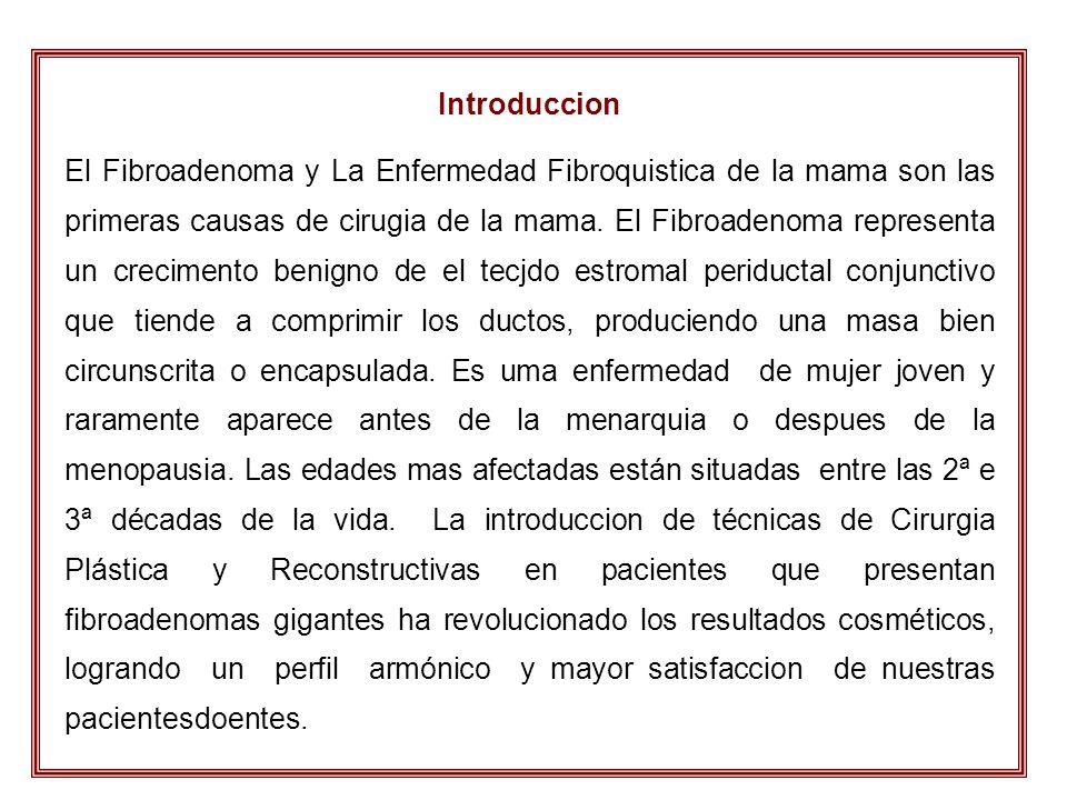 Introduccion El Fibroadenoma y La Enfermedad Fibroquistica de la mama son las primeras causas de cirugia de la mama. El Fibroadenoma representa un cre