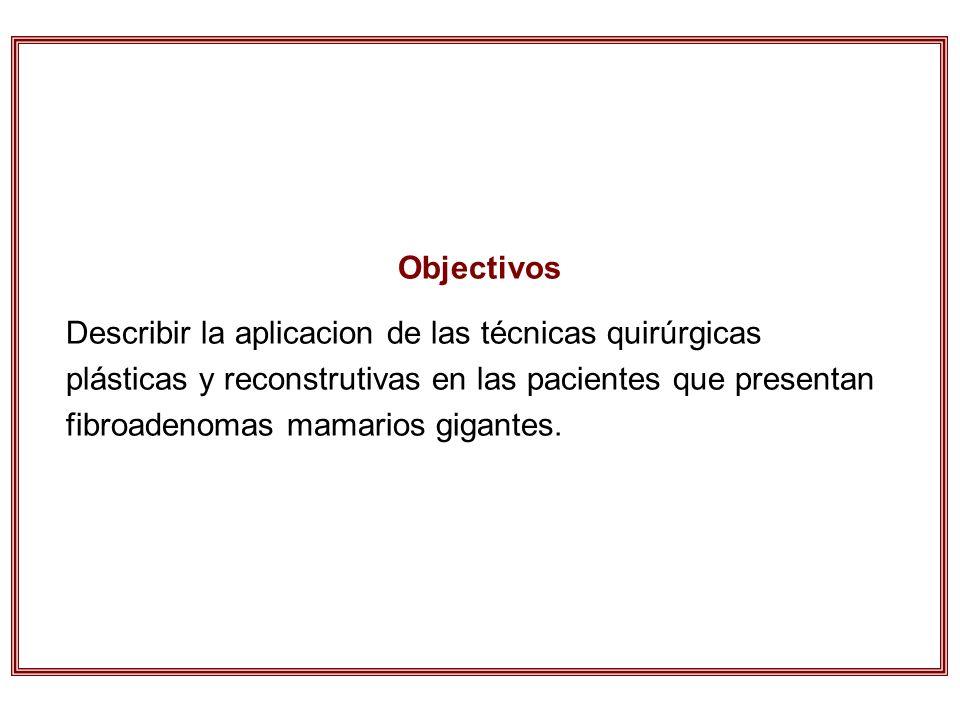 Objectivos Describir la aplicacion de las técnicas quirúrgicas plásticas y reconstrutivas en las pacientes que presentan fibroadenomas mamarios gigant
