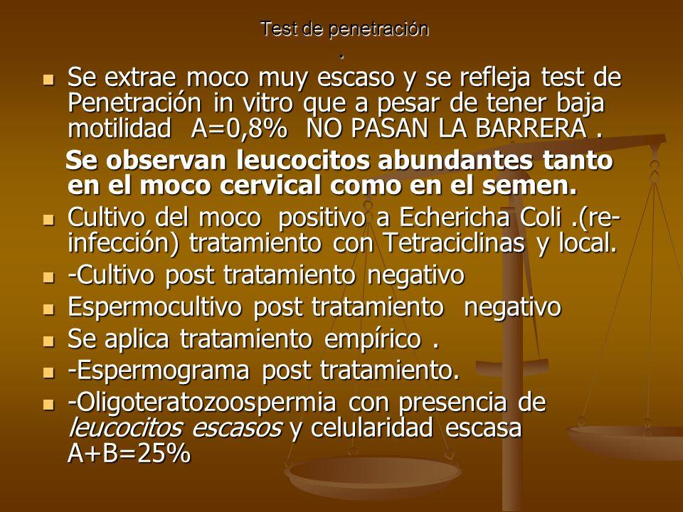Test de penetración. Test de penetración. Se extrae moco muy escaso y se refleja test de Penetración in vitro que a pesar de tener baja motilidad A=0,