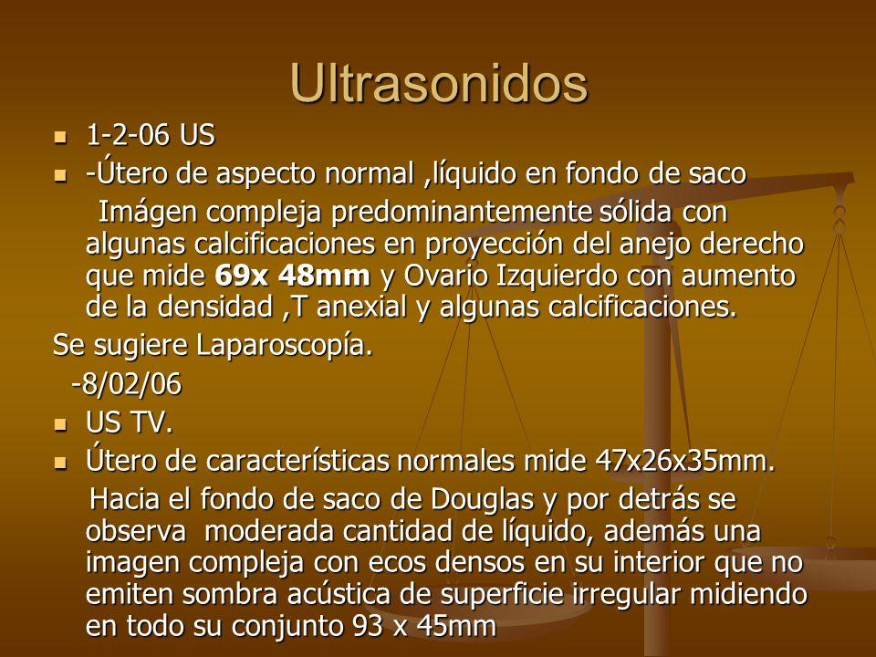 Ultrasonidos 1-2-06 US 1-2-06 US -Útero de aspecto normal,líquido en fondo de saco -Útero de aspecto normal,líquido en fondo de saco Imágen compleja p