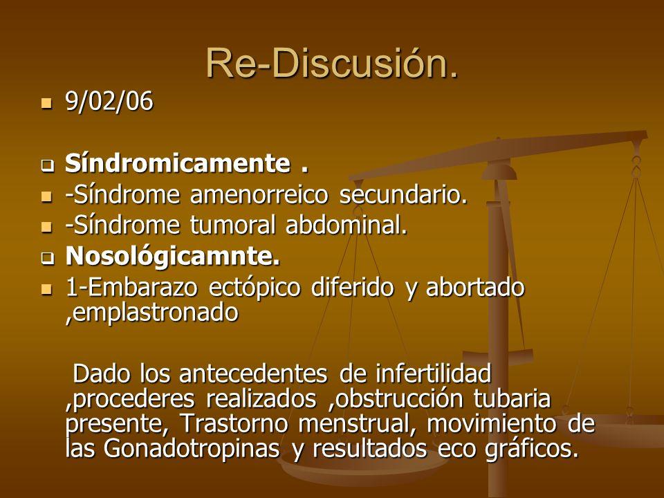 Re-Discusión. 9/02/06 9/02/06 Síndromicamente. Síndromicamente. -Síndrome amenorreico secundario. -Síndrome amenorreico secundario. -Síndrome tumoral
