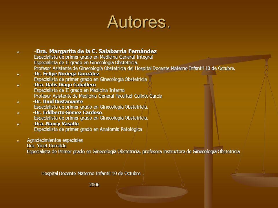Autores. - Dra. Margarita de la C. Salabarría Fernández - Dra. Margarita de la C. Salabarría Fernández Especialista de primer grado en Medicina Genera