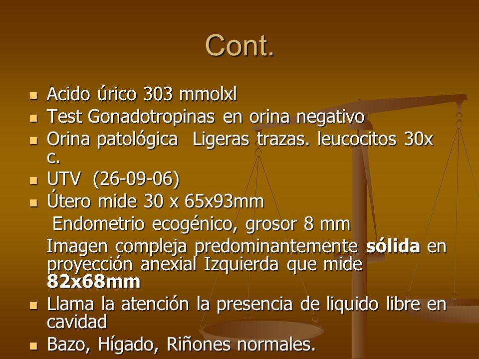 Cont. Acido úrico 303 mmolxl Acido úrico 303 mmolxl Test Gonadotropinas en orina negativo Test Gonadotropinas en orina negativo Orina patológica Liger