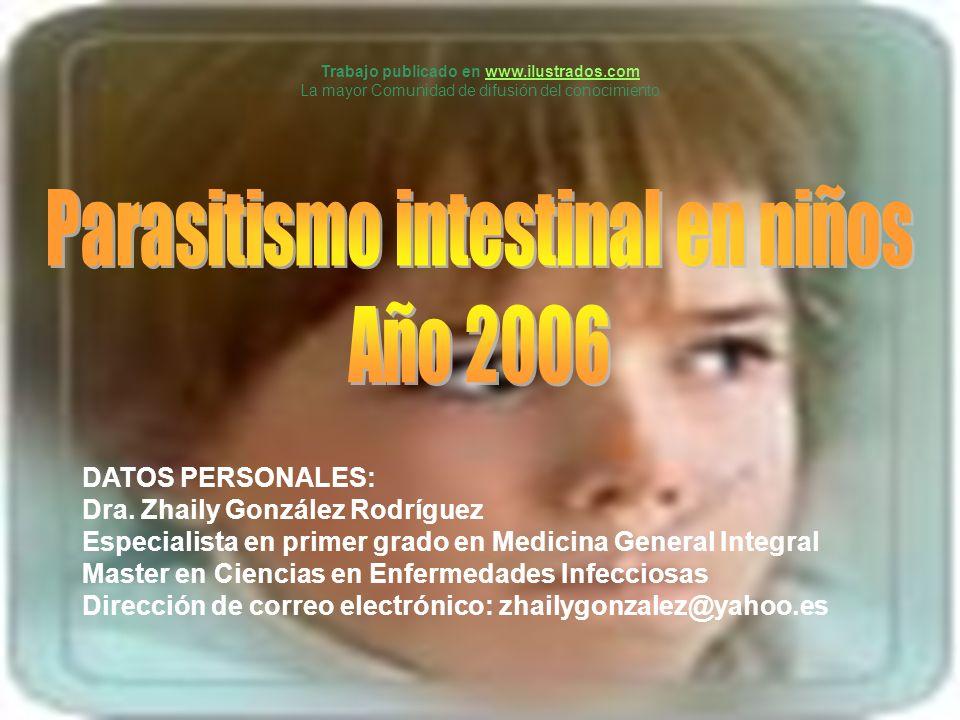 DATOS PERSONALES: Dra. Zhaily González Rodríguez Especialista en primer grado en Medicina General Integral Master en Ciencias en Enfermedades Infeccio