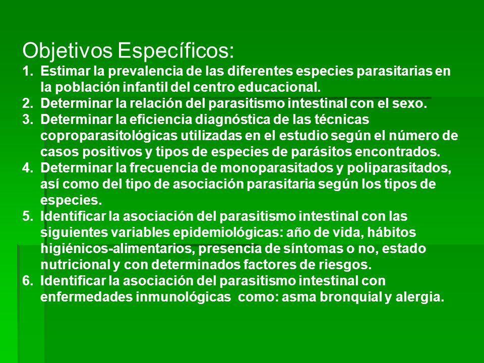 Objetivos Específicos: 1.Estimar la prevalencia de las diferentes especies parasitarias en la población infantil del centro educacional. 2.Determinar