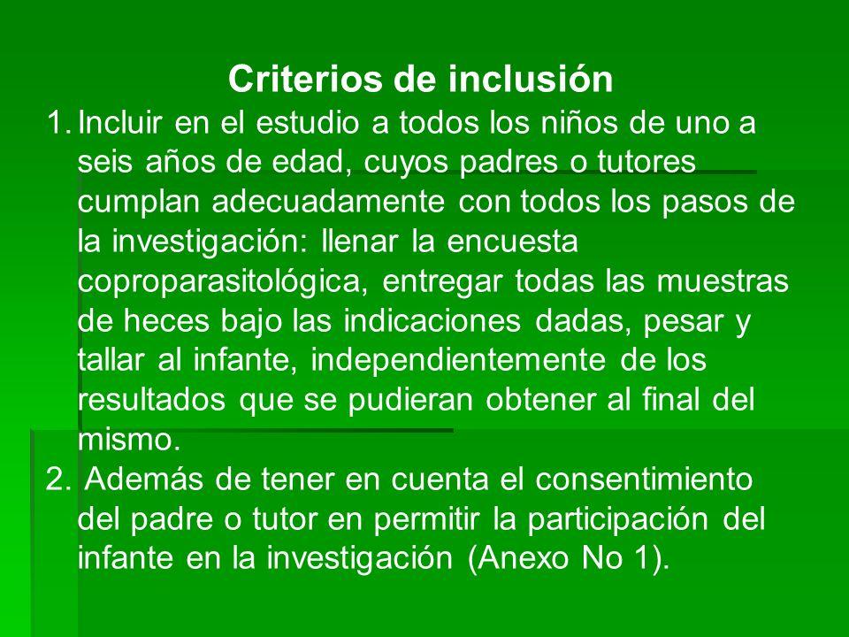 Criterios de inclusión 1.Incluir en el estudio a todos los niños de uno a seis años de edad, cuyos padres o tutores cumplan adecuadamente con todos lo