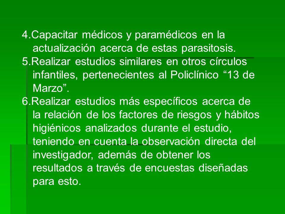 4.Capacitar médicos y paramédicos en la actualización acerca de estas parasitosis. 5.Realizar estudios similares en otros círculos infantiles, pertene