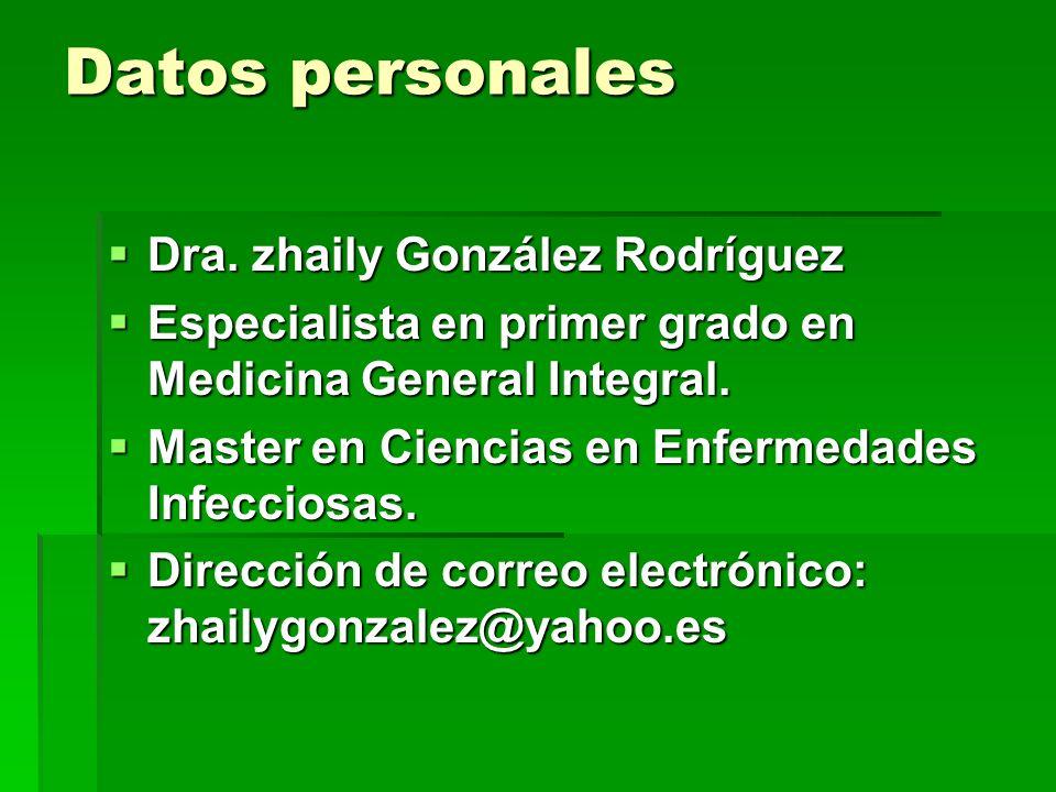 Datos personales Dra. zhaily González Rodríguez Dra. zhaily González Rodríguez Especialista en primer grado en Medicina General Integral. Especialista
