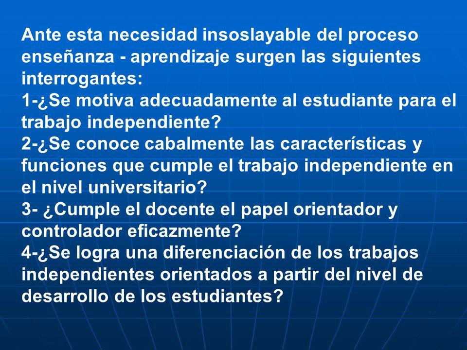 Ante esta necesidad insoslayable del proceso enseñanza - aprendizaje surgen las siguientes interrogantes: 1-¿Se motiva adecuadamente al estudiante par
