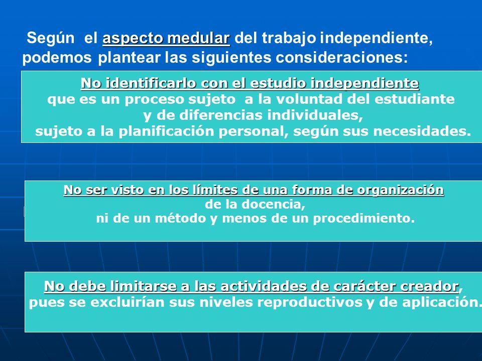 aspecto medular Según el aspecto medular del trabajo independiente, podemos plantear las siguientes consideraciones: No identificarlo con el estudio i